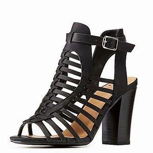 New Black Woven Gladiator Block Chunky Heel Sandal